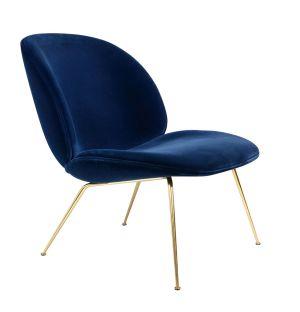 Lounge Chair Beetle velours - piétement laiton - Gubi