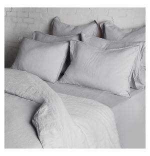 Linge de lit en lin bleu-gris