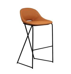 Chaise de bar Cross Leg - piétement noir - H 79 cm