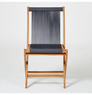 Chaise pliante en teck et corde anthracite