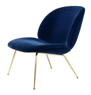 Lounge Chair Beetle velours - piétement laiton - Gubi