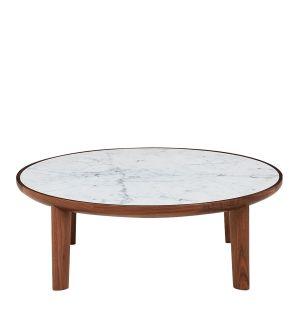 Table basse Hole en noyer et marbre