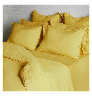 Linge de lit en lin ocre jaune