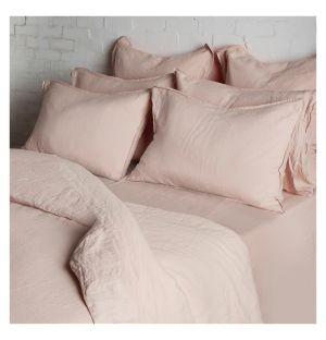 Linge de lit en lin rose tendre