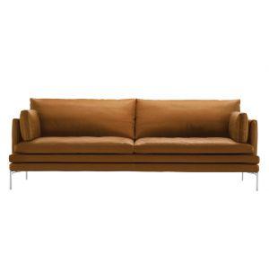 Canapé William en cuir & 2 coussins d'accoudoir 224 cm - Zanotta