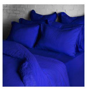 Linge de lit en lin bleu de travail