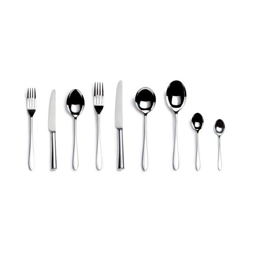 Ménagère contenant 6 couteaux de table, 6 couteaux à dessert, 6 fourchettes de table, 6 fourchettes à dessert, 6 cuillères à soupe, 6 cuillères à dessert, 6 cuillères à thé et 2 cuillères de service