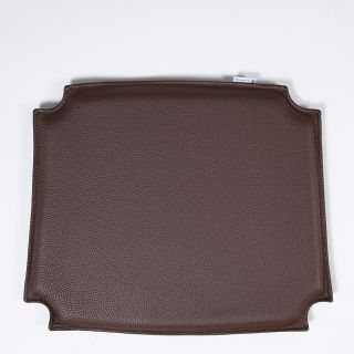 Coussin d'assise en cuir marron foncé Wishbone CH24