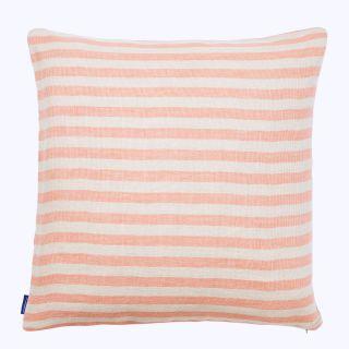 Housse de coussin en lin rayée flamant rose - 50 x 50 cm