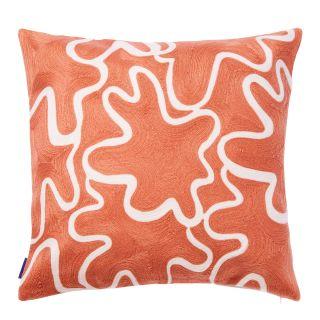Housse de coussin brodée Shasta orange - 45 x 45 cm