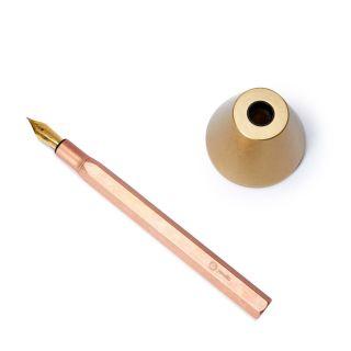 Coffret stylo plume en cuivre et son plumier