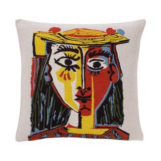 Housse de coussin Picasso - Femme à chapeau
