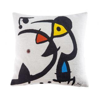 Housse de coussin blanche Miró